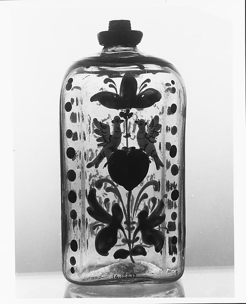 Bottle, Non-lead glass with enamel decoration, pewter