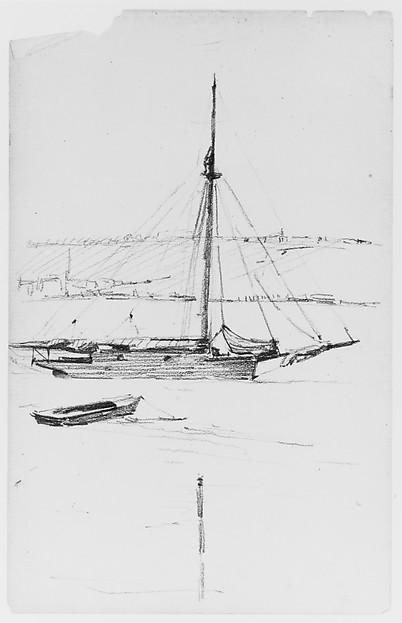 Seascape with Boats (from Sketchbook), Thomas Moran (American (born England), Bolton, Lancashire 1837–1926 Santa Barbara, California), Graphite on paper, American