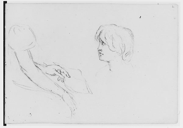 Figure Study (from Sketchbook), Asher Brown Durand (American, Jefferson, New Jersey 1796–1886 Maplewood, New Jersey), Graphite on paper, American