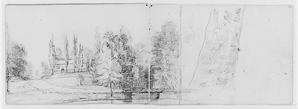 Landscape with Schoolhouse; Study of a Tree (from Sketchbook), Asher Brown Durand (American, Jefferson, New Jersey 1796–1886 Maplewood, New Jersey), Graphite on off-white wove paper, American