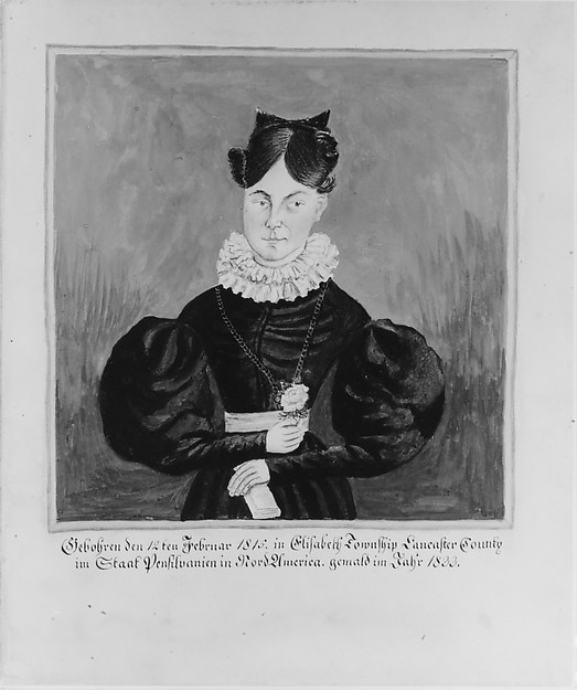 Portrait and Birth Record of Mahala Wechter, Jacob Maentel (1763?–1863), Watercolor, gouache, gum arabic, and graphite on off-white wove paper, American