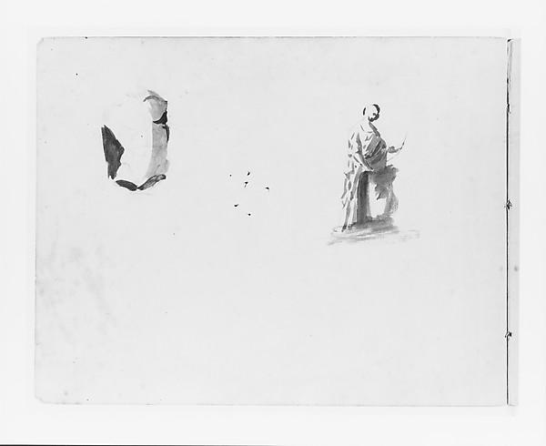 Sketch of a Male Torso; Sketch of a Full-length Male Figure (from Sketchbook), John Quincy Adams Ward (American, Urbana, Ohio 1830–1910 New York), Ink on paper, American