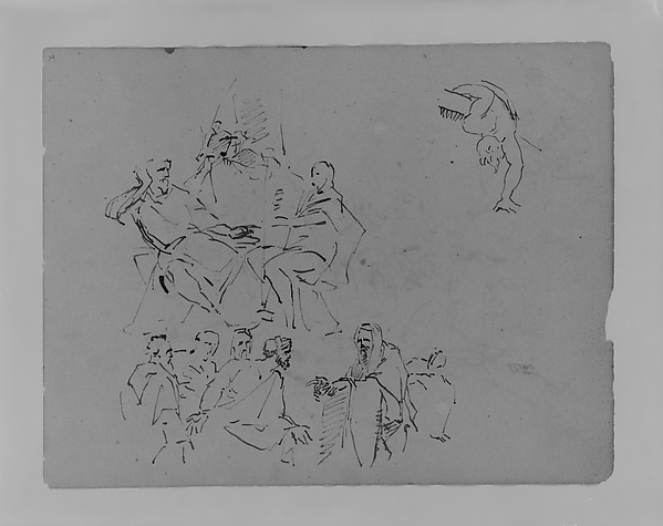 "Two Figures Conversing; ""Prophet"" Addressing Group; a Man Leaning over a Ledge (from Sketchbook), Thomas Sully (American, Horncastle, Lincolnshire 1783–1872 Philadelphia, Pennsylvania), Wash, graphite, on paper, American"