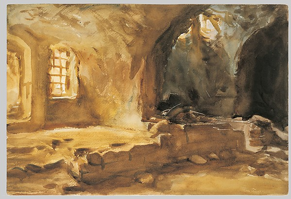 Ruined Cellar—Arras, John Singer Sargent (American, Florence 1856–1925 London), Watercolor and graphite on wove paper, mounted to cardboard, American