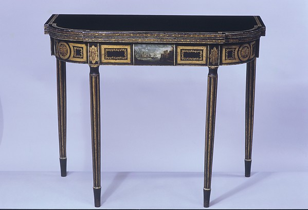 Card Table, Attributed to John Finlay (active ca. 1799–1833), Maple, oak, tulip, American