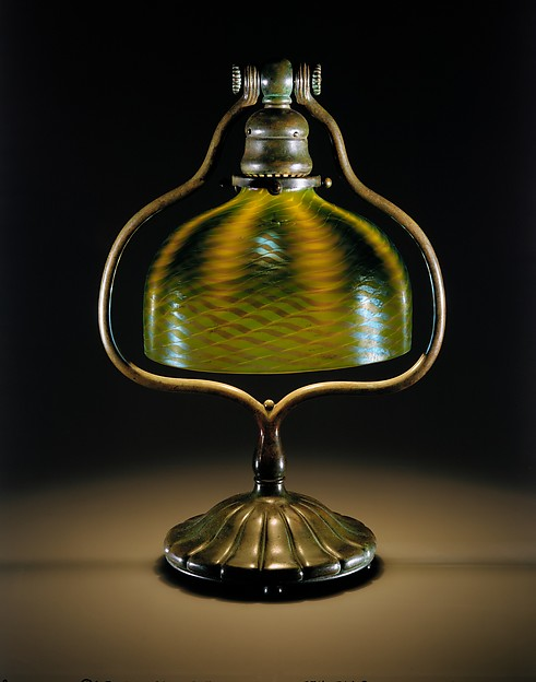 Electric Lamp, Designed by Louis Comfort Tiffany (American, New York 1848–1933 New York), Glass and bronze, American