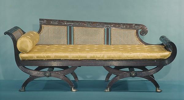 Sofa, Attributed to the Workshop of Duncan Phyfe (1770–1854), Mahogany, gilt brass, tulip poplar, American