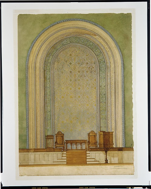 Design for Chancel wall for First Reformed Church, Albany, NY, Louis Comfort Tiffany (American, New York 1848–1933 New York), Watercolor, pen and ink, aluminum wash, and graphite on wove paper, American