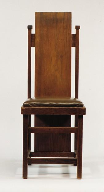 Side Chair, Frank Lloyd Wright (American, Richland Center, Wisconsin 1867–1959 Phoenix, Arizona), Oak, American