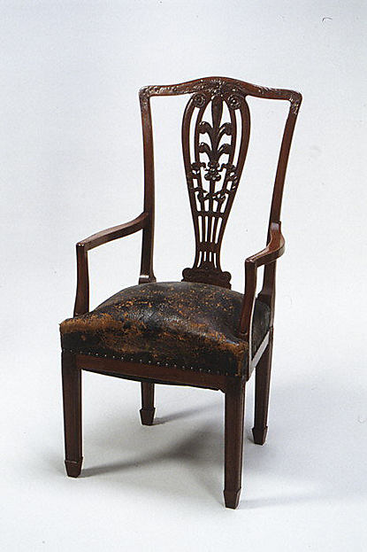 Armchair, Designed by Francis H. Bacon (1856–1940), Mahogany, tooled and painted leather, American