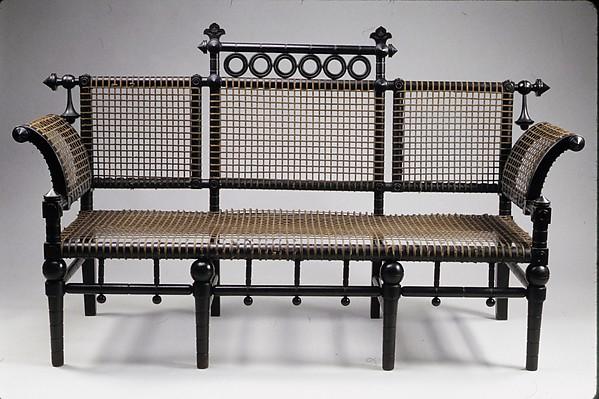 Settee, George Jakob Hunzinger (1835–1898), Ebonized cherry, fabric-covered steel mesh, American