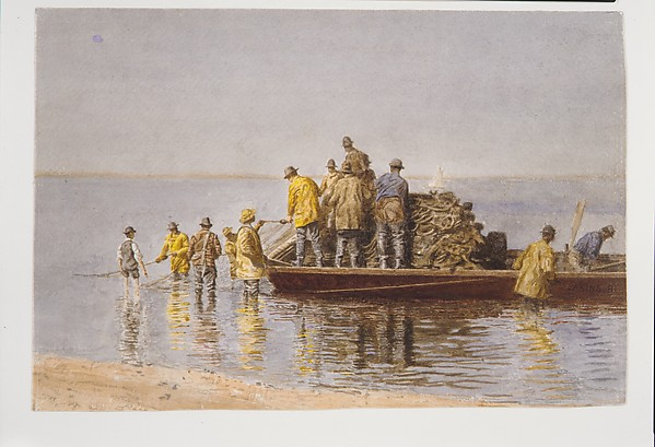 Taking Up the Net, Thomas Eakins (American, Philadelphia, Pennsylvania 1844–1916 Philadelphia, Pennsylvania), Watercolor on off-white wove paper, American