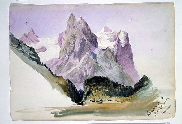 "Wellhorn and Wetterhorn from Brunig (overleaf) (from ""Splendid Mountain Watercolours"" Sketchbook), John Singer Sargent (American, Florence 1856–1925 London), Watercolor and graphite on off-white wove paper, American"