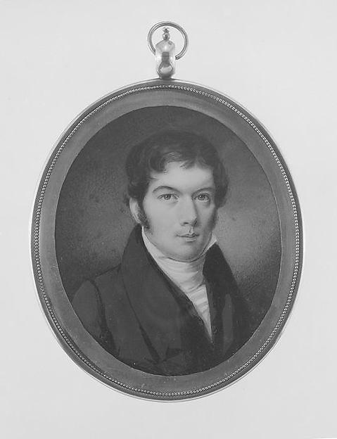 Mr. Hagner, Daniel Dickinson (1795–1877), Watercolor on ivory in gilded copper locket; hair reserve verso, American