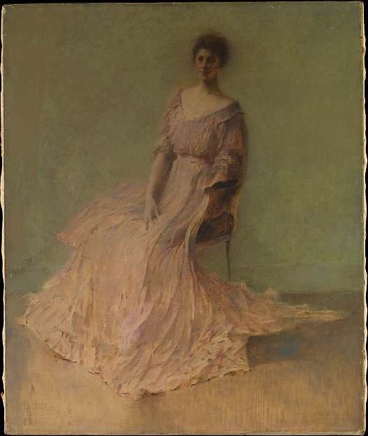Lilac Dress, Thomas Wilmer Dewing (1851–1938), Oil on canvas, American