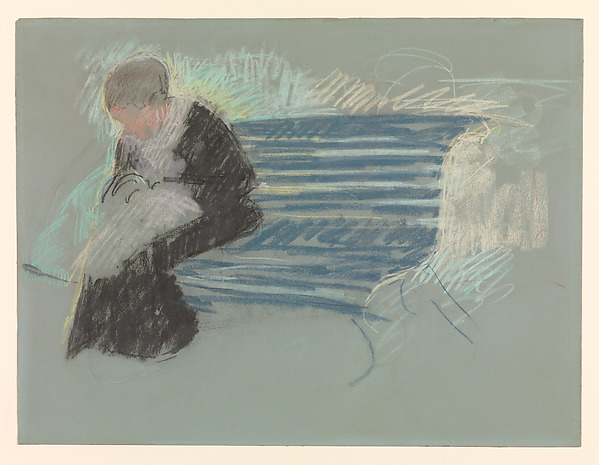Woman on a Bench, Mary Cassatt (American, Pittsburgh, Pennsylvania 1844–1926 Le Mesnil-Théribus, Oise), Pastel on green wove paper, mounted on illustration board, American