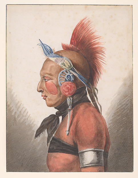 An Osage Warrior, Pavel Petrovich Svinin (1787/88–1839), Watercolor, black chalk, and gum arabic on white wove paper, American