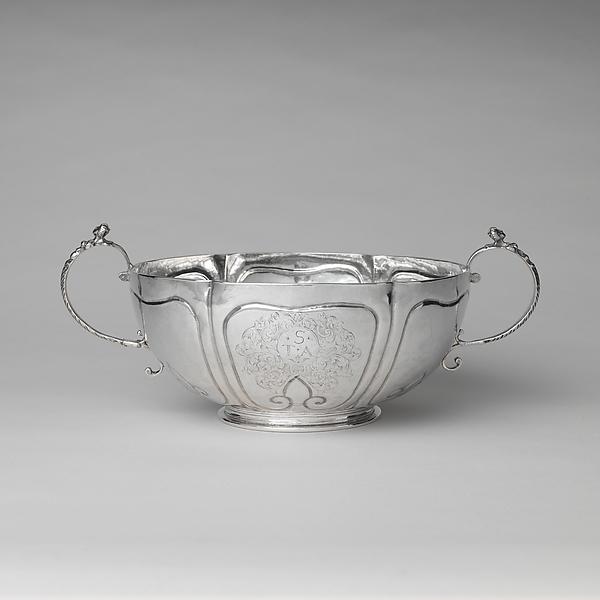 Two-handled bowl, Jesse Kip (baptized 1660–1722), Silver, American