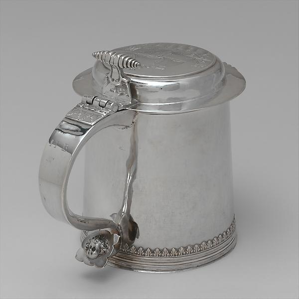Tankard, Gerrit Onckelbag (baptized 1670–1732), Silver, American