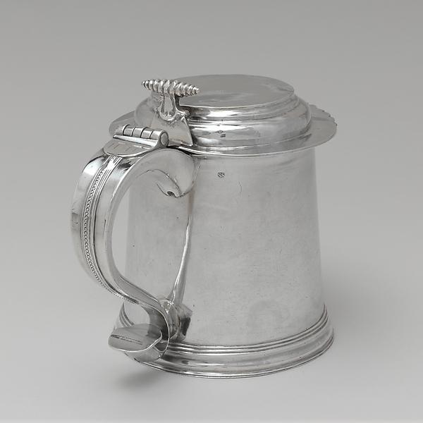 Tankard, Simeon Soumaine (baptized 1685–ca. 1750), Silver, American