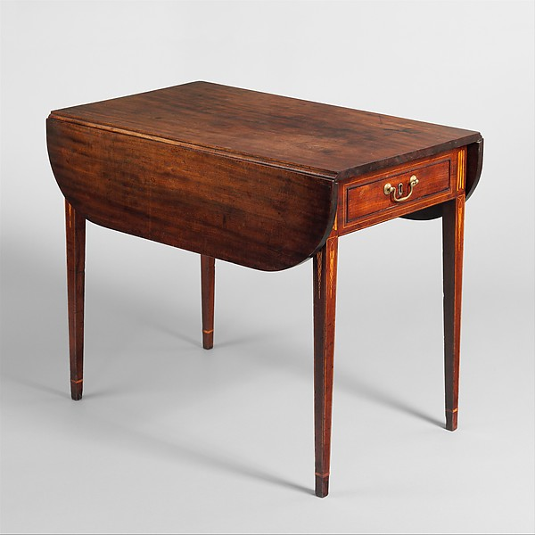 Drop-leaf Pembroke Table, John Townsend (1732–1809), Primary wood: mahogany and lightwood inlays; secondary woods: maple and chestnut, American