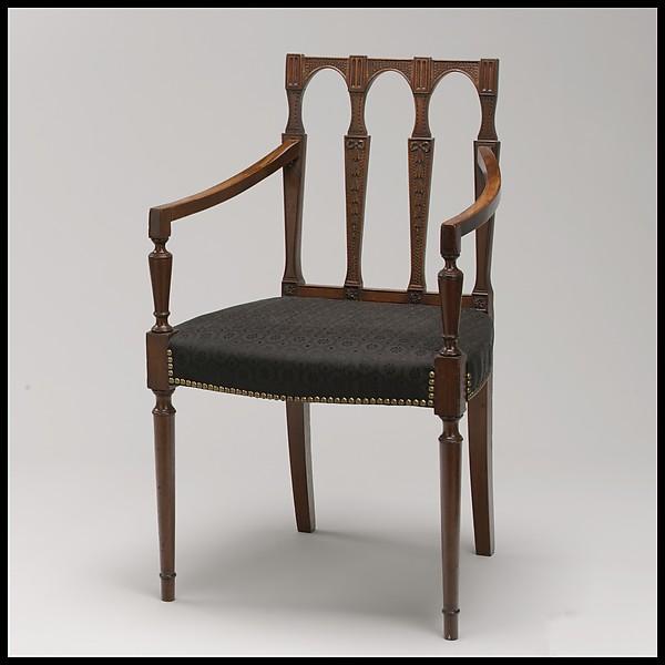 Armchair, Attributed to Samuel McIntire (1757–1811), Mahogany, birch, white pine, American