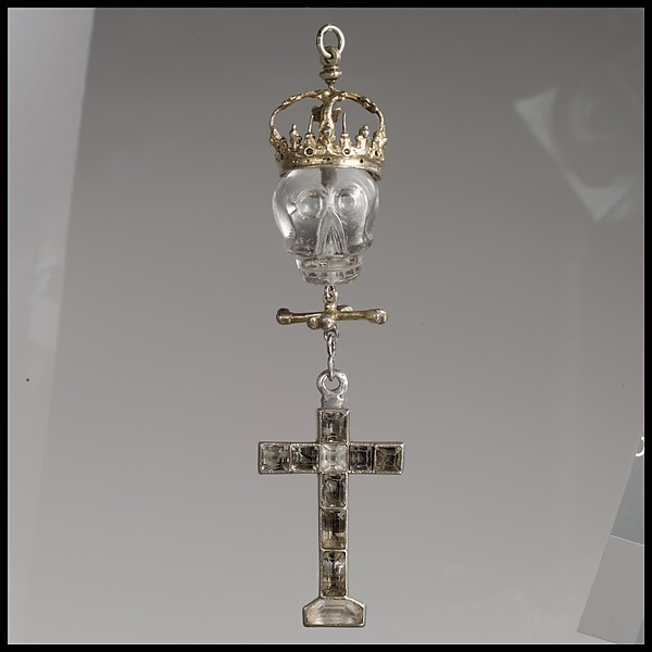 Pendant of a rosary, Silver gilt, rock crystal, Mexican or Flemish