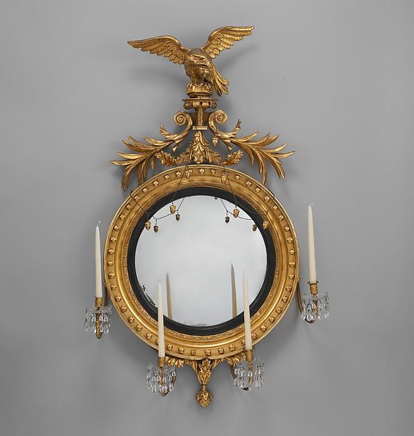 Girandole, Gilded gesso, mirror glass with white pine, American