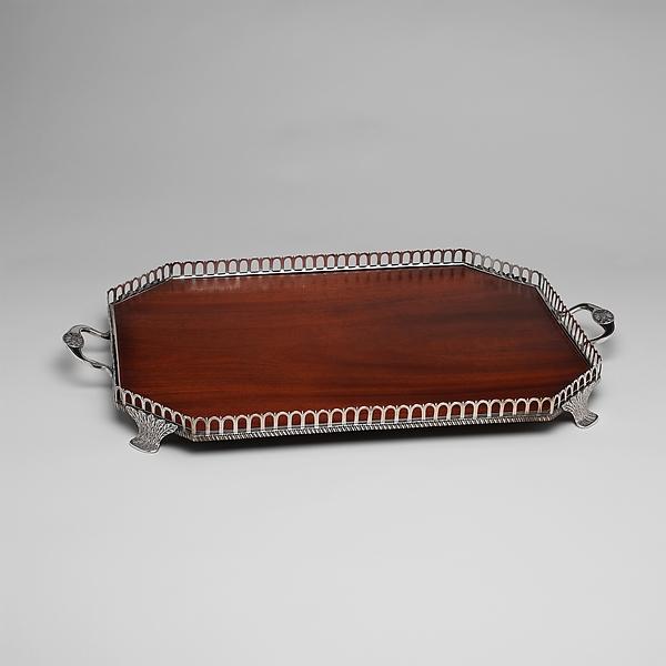 Tray, Charles Louis Boehme (1774–1868), Silver, mahogany, American
