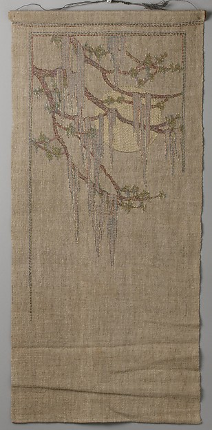 Cypress in Spring, Attributed to Anna Frances Simpson (1880–1930), Embroidered silk on linen, American