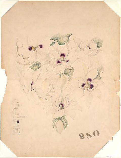 Design Drawing, Tiffany & Co. (1837–present), Watercolor and graphite on off-white board, American