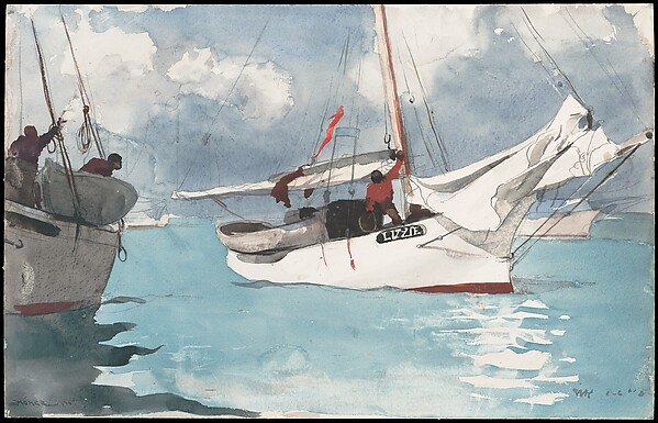Fishing Boats, Key West, Winslow Homer (American, Boston, Massachusetts 1836–1910 Prouts Neck, Maine), Watercolor and graphite on off-white wove paper, American