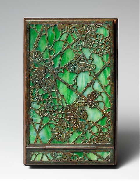 Note Pad Holder, Designed by Louis Comfort Tiffany (American, New York 1848–1933 New York), Favrile glass, bronze, wood, American