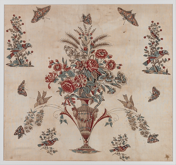 Quilt center, John Hewson (1744–1821), Cotton, printed, American