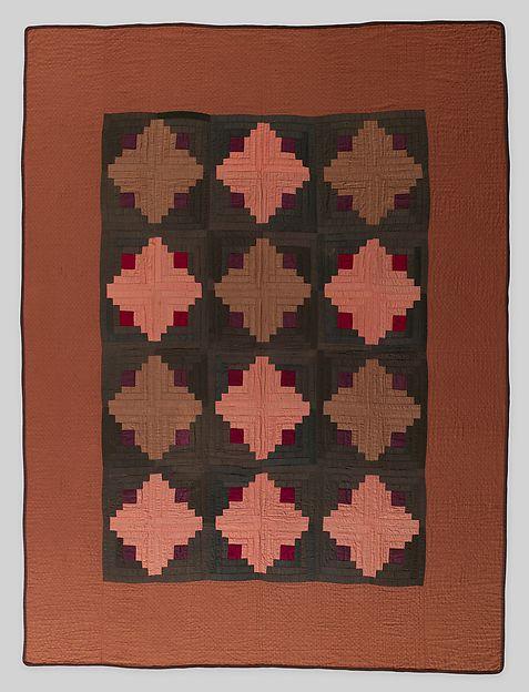 Quilt, Log Cabin pattern, Cotton, American
