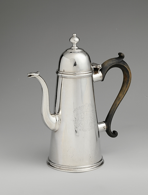 Coffeepot, Charles Le Roux (baptized 1689–1745), Silver, American