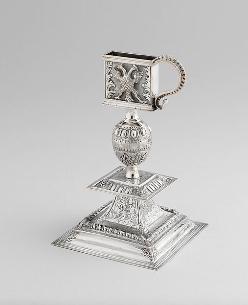 Snuffer Stand, Cornelius Kierstede (1674–ca. 1757), Silver, American