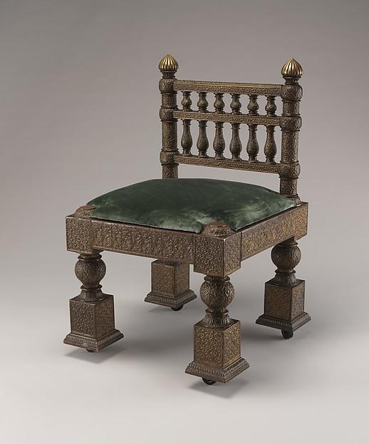 Chair, Lockwood de Forest (American, New York 1850–1932 Santa Barbara, California), Brass over teak, Indian (American market)