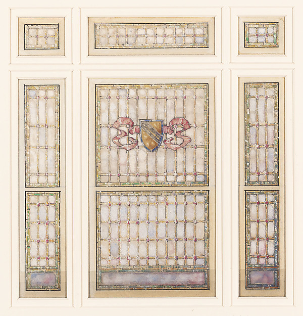 Design for a window, Louis Comfort Tiffany (American, New York 1848–1933 New York), Watercolor, gouache, pen and metallic ink, and graphite on off-white wove paper, American