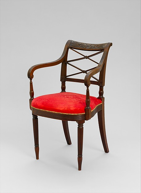 Armchair, Possibly Duncan Phyfe (1770–1854), Mahogany, American
