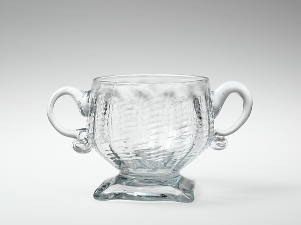 Sugar bowl, Possibly by American Flint Glass Manufactory (1764–1774) or, Blown pattern-molded glass, American