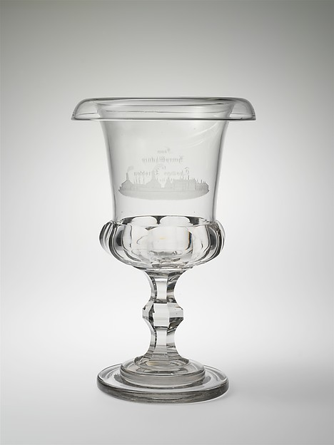 Presentation vase, New England Glass Company (American, East Cambridge, Massachusetts, 1818–1888), Blown, cut, and engraved glass, American