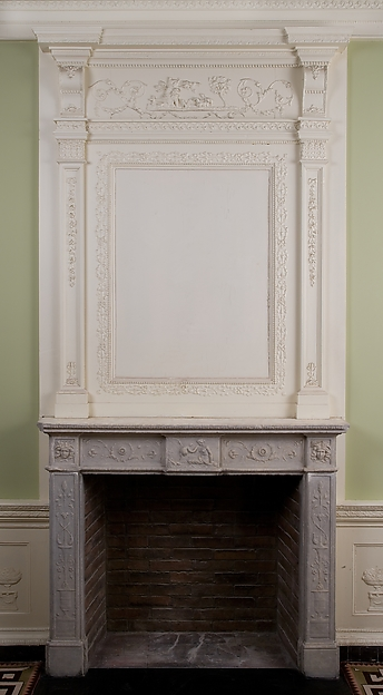 Overmantel, Wood, composition ornament, American