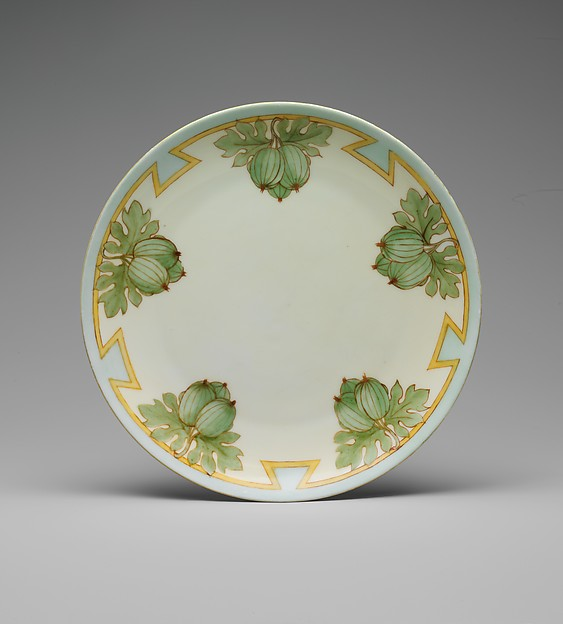 Plate, Olga St. John, Porcelain, overglaze enamel decoration, American or German