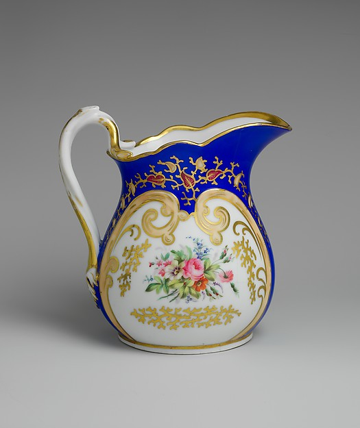 Pitcher, French Manufacturer, Porcelain, overglaze enamel decoration, and gilding, American
