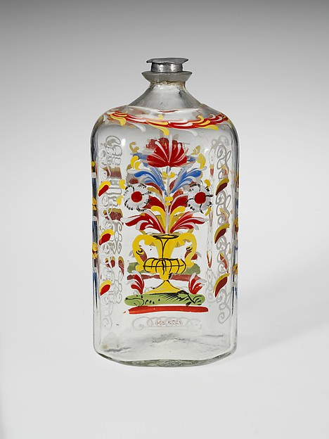Bottle, Possibly Sebastian Witmer, Non-lead glass with enamel decoration