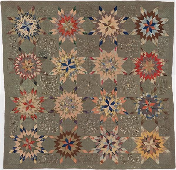 Quilt, Star of Bethlehem pattern variation, Ellen Morton Littlejohn (1826–1899), Silk and cotton, American