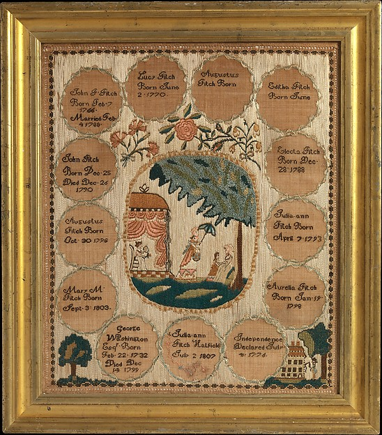 Embroidered sampler, Embroidered by Julia Ann Fitch (born 1792), Silk on linen, American