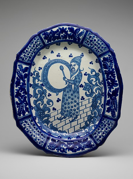 Dish, Tin-glazed earthenware, Mexican