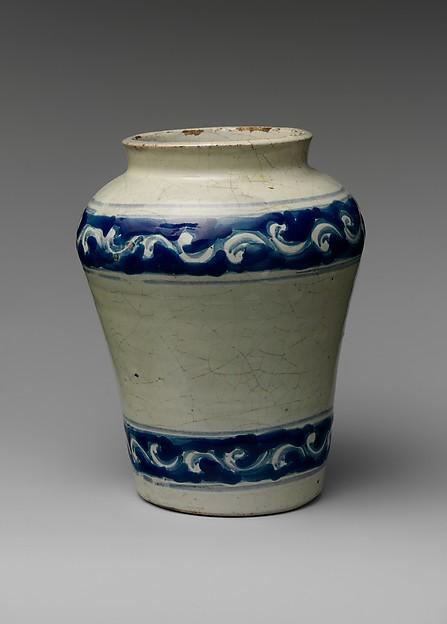 Jar, Tin-glazed earthenware, Mexican